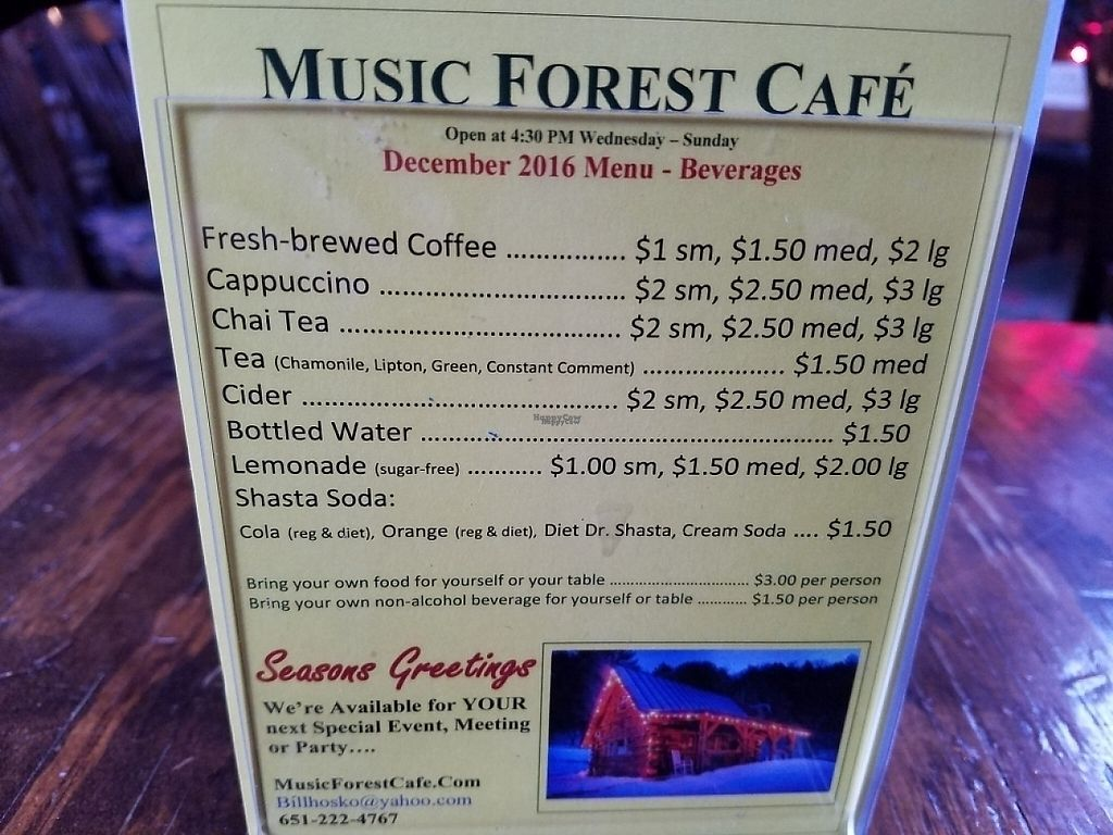"""Photo of Music Forest Cafe  by <a href=""""/members/profile/EverydayTastiness"""">EverydayTastiness</a> <br/>menu <br/> February 24, 2017  - <a href='/contact/abuse/image/87417/230089'>Report</a>"""