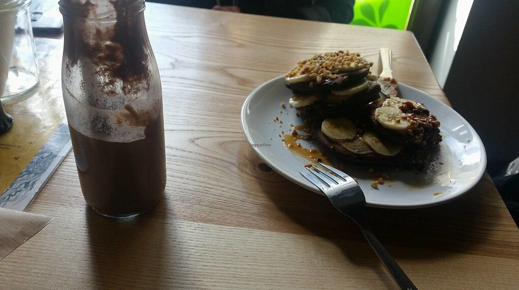 """Photo of Wegarnik  by <a href=""""/members/profile/httpham"""">httpham</a> <br/>Pancakes + banana and peanutbutter shake <br/> January 23, 2018  - <a href='/contact/abuse/image/87422/350182'>Report</a>"""
