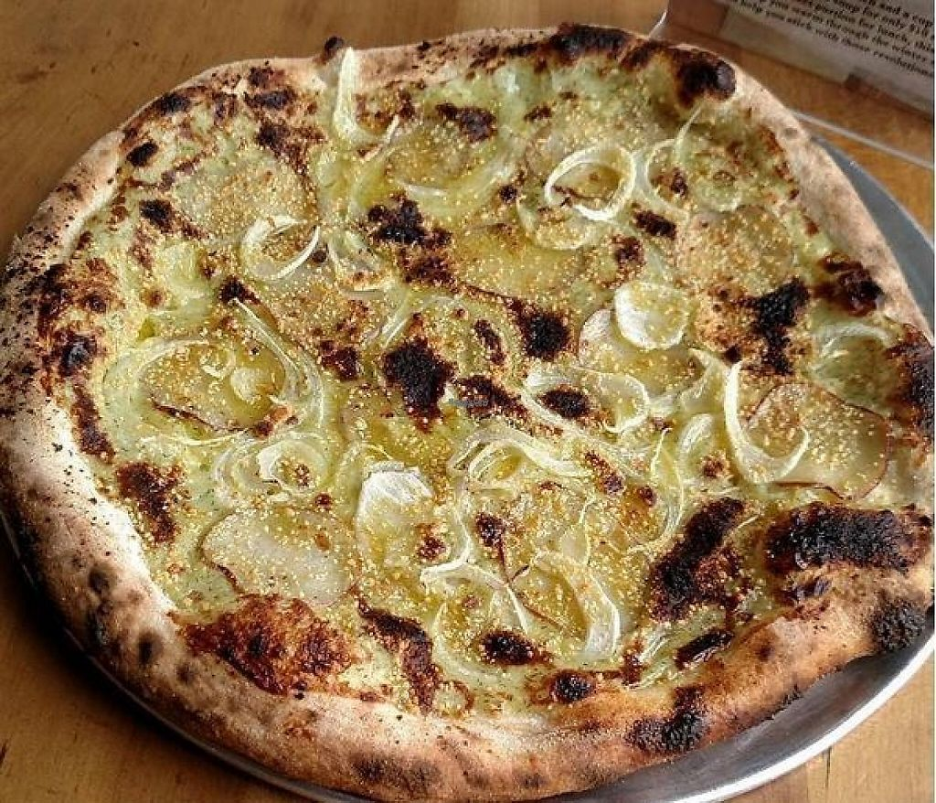 """Photo of Pompieri Pizza  by <a href=""""/members/profile/turtleveg"""">turtleveg</a> <br/>a daily special: Vegan dill béchamel base, sliced roasted red potatoes, fennel. Finished with cashew parmesan and Monte Iblei olive oil <br/> February 21, 2017  - <a href='/contact/abuse/image/87423/228882'>Report</a>"""