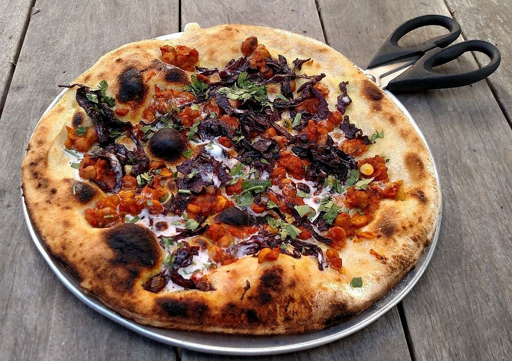 """Photo of Pompieri Pizza  by <a href=""""/members/profile/thurmste"""">thurmste</a> <br/>Vegan Chana Masala Pizza of the Day <br/> March 16, 2017  - <a href='/contact/abuse/image/87423/237057'>Report</a>"""