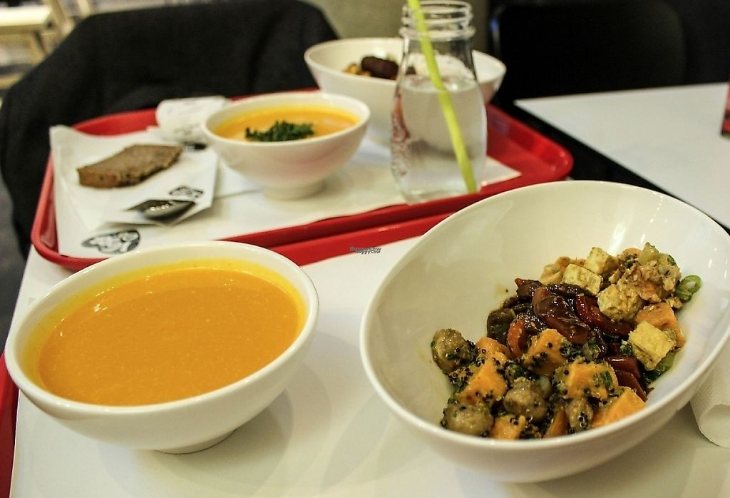 """Photo of Vegg Go - Plzenska  by <a href=""""/members/profile/SueClesh"""">SueClesh</a> <br/>pumpkin soup, tofu salad, sweet potato salad and seitan kung pao <br/> February 19, 2017  - <a href='/contact/abuse/image/87434/237335'>Report</a>"""