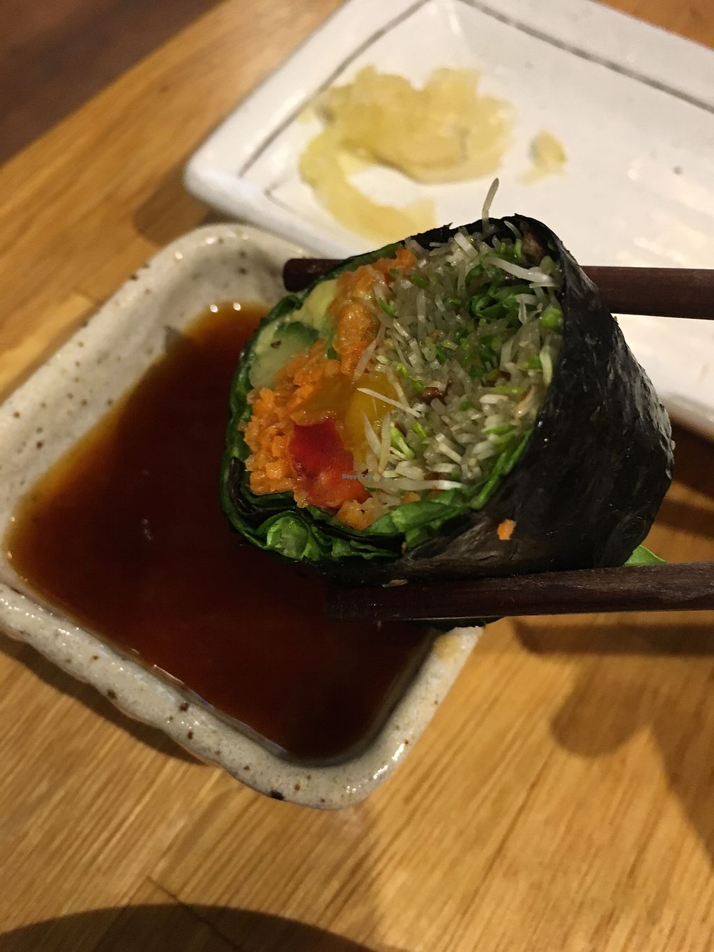 """Photo of Shizenya - Downtown  by <a href=""""/members/profile/Siup"""">Siup</a> <br/>Vegetables rolls with ginger sauce  <br/> March 21, 2018  - <a href='/contact/abuse/image/87440/373538'>Report</a>"""