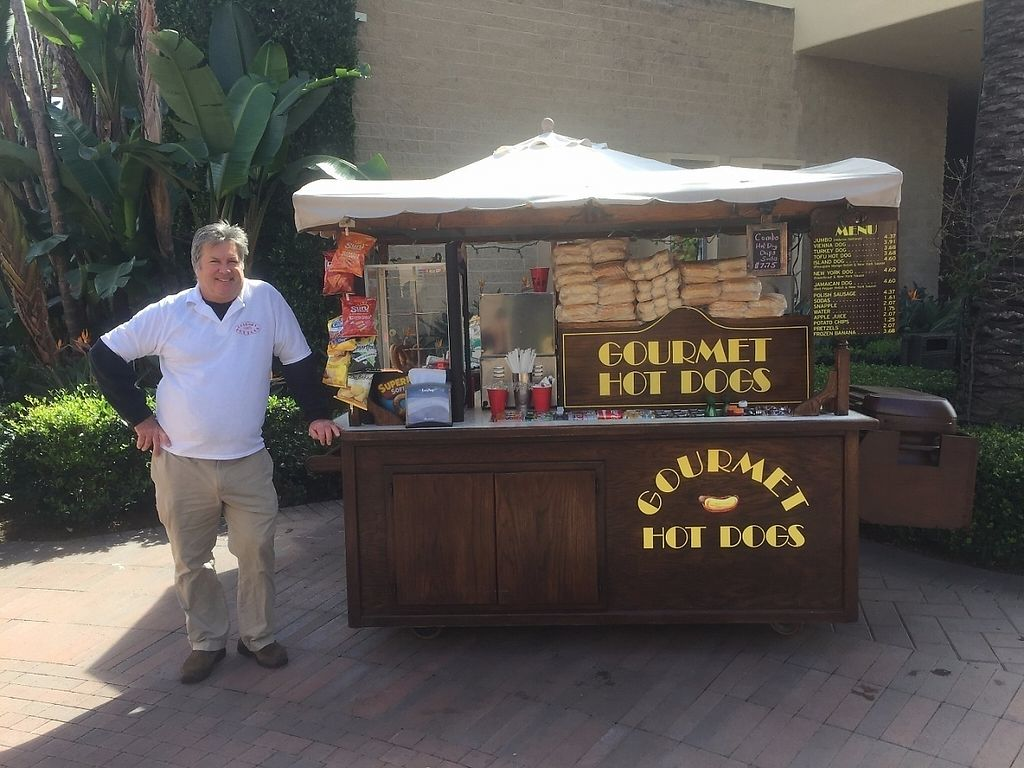 """Photo of Gourmet Hot Dogs  by <a href=""""/members/profile/Veganbloke"""">Veganbloke</a> <br/>Dean and his hot dog stand <br/> February 20, 2017  - <a href='/contact/abuse/image/87456/228504'>Report</a>"""