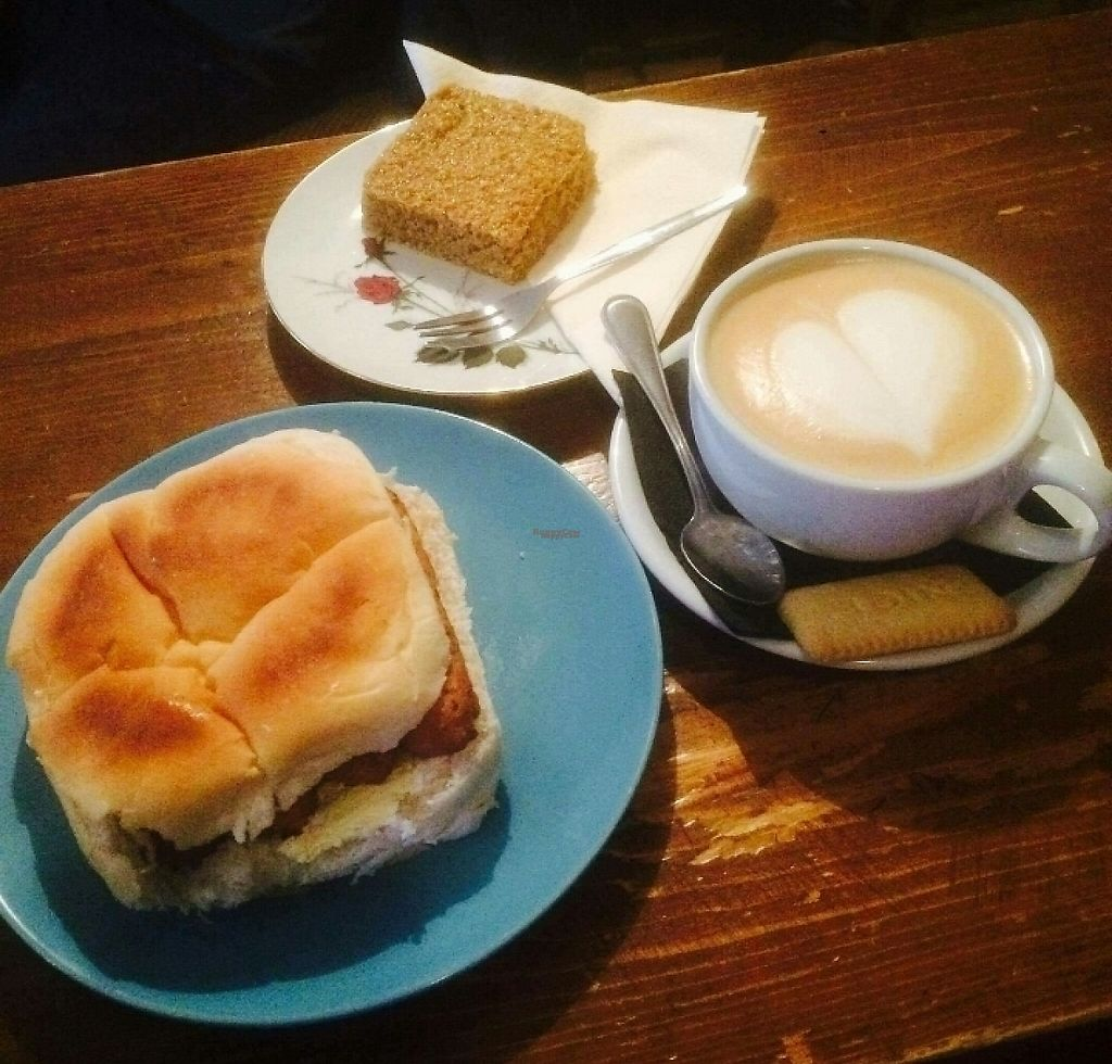 "Photo of Just Desserts & Coffee   by <a href=""/members/profile/Sarah_clayton328"">Sarah_clayton328</a> <br/>vegan soy latte, sausage sandwich and flapjack <br/> February 23, 2017  - <a href='/contact/abuse/image/87467/229616'>Report</a>"