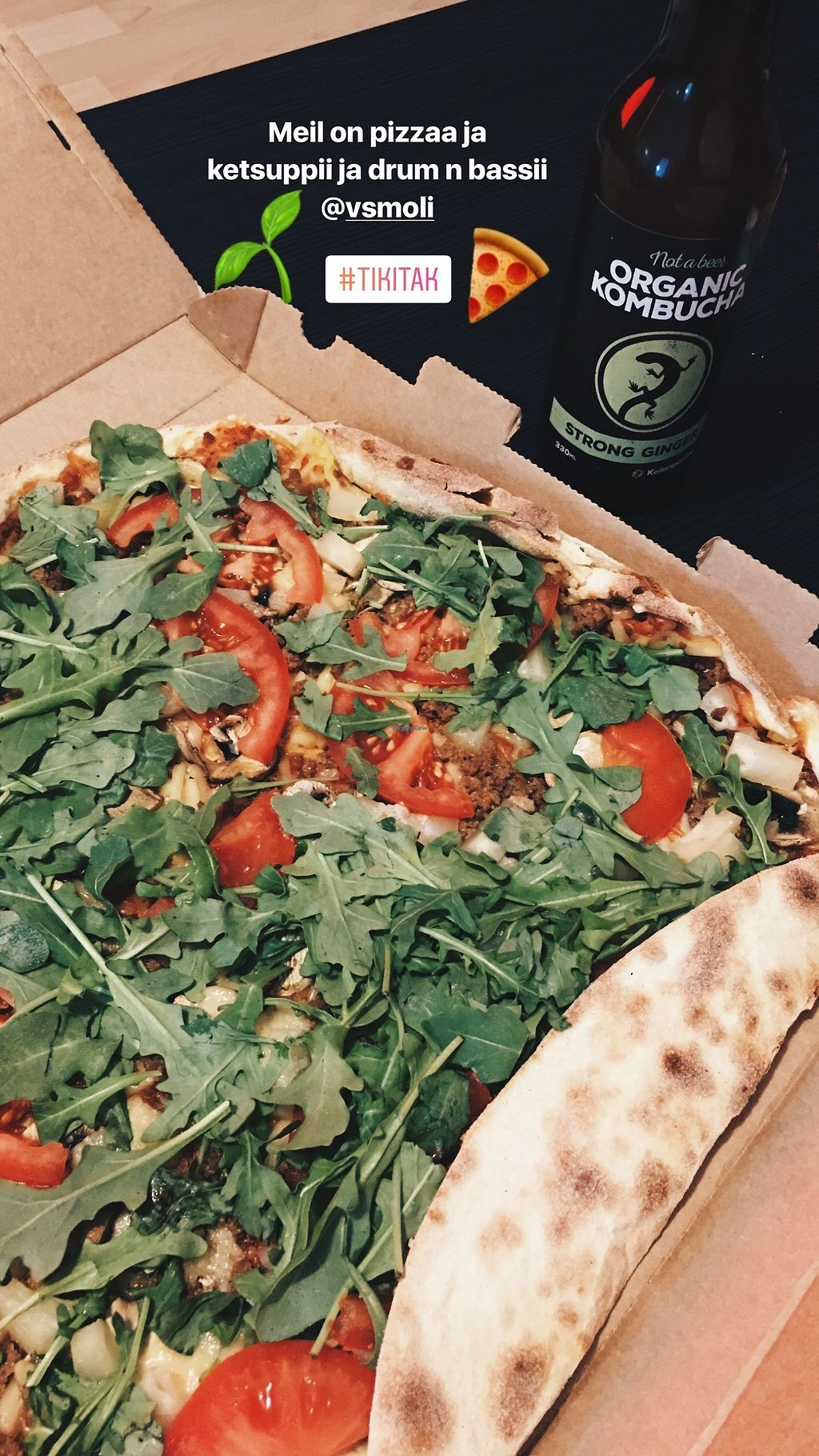 """Photo of Tikitak  by <a href=""""/members/profile/Sara_Aurora"""">Sara_Aurora</a> <br/>Pizza with tomatoes, minced soy, pineapple, arugula, garlic, dairy free cheese, mushrooms <br/> August 13, 2017  - <a href='/contact/abuse/image/87468/292409'>Report</a>"""
