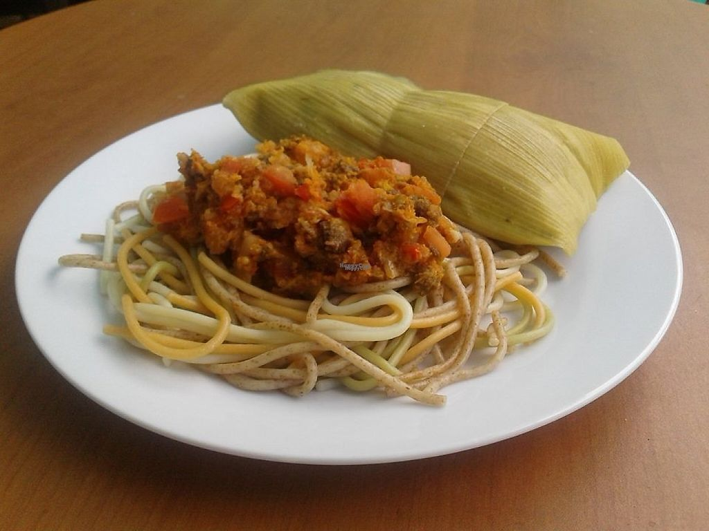 """Photo of Govinda's Veg  by <a href=""""/members/profile/community5"""">community5</a> <br/>Spaghetti with soy, red sauce and corn <br/> February 20, 2017  - <a href='/contact/abuse/image/87473/228566'>Report</a>"""