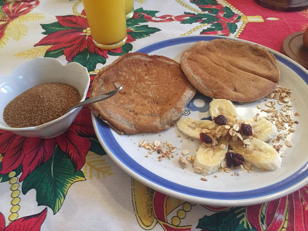 "Photo of Maiz, Canela and Cilantro  by <a href=""/members/profile/SinzianaK"">SinzianaK</a> <br/>Whole wheat banana pancakes (made especially vegan- you have to ask) <br/> December 16, 2017  - <a href='/contact/abuse/image/87476/336224'>Report</a>"