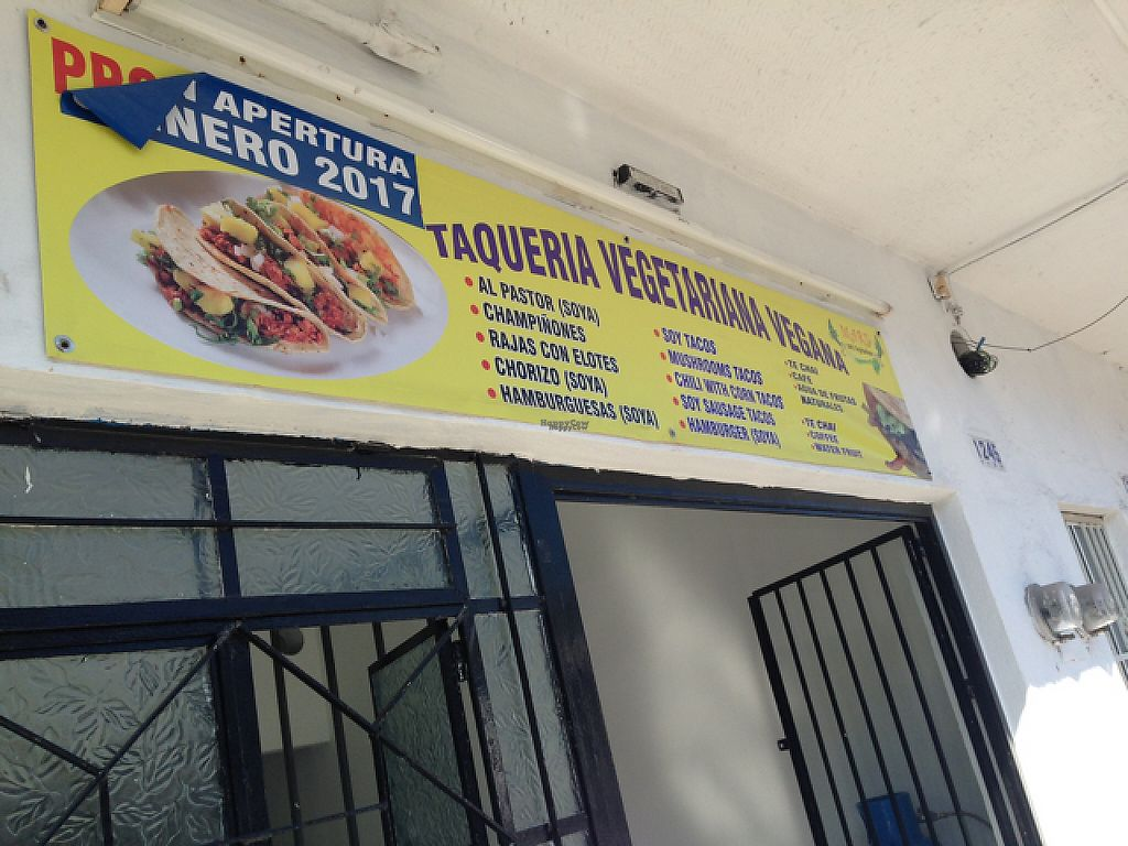 """Photo of CLOSED: Taqueria Vegetariana and Vegano   by <a href=""""/members/profile/Cathy133"""">Cathy133</a> <br/>outside and menu <br/> February 23, 2017  - <a href='/contact/abuse/image/87493/229515'>Report</a>"""