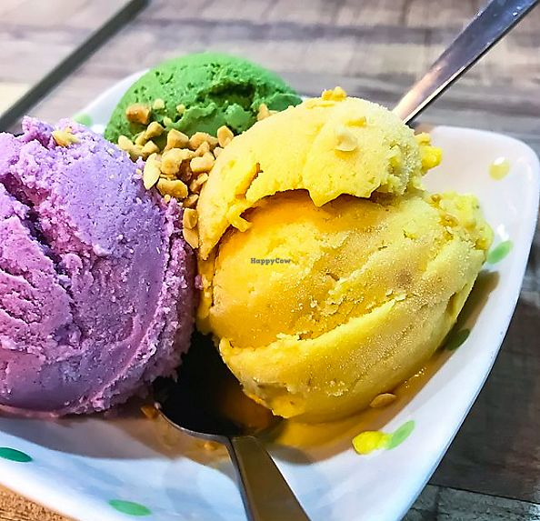 "Photo of NomVnom - Tai Seng St  by <a href=""/members/profile/Sweetveganneko"">Sweetveganneko</a> <br/>Chempedak, Matcha and sweet potato ice cream <br/> January 30, 2018  - <a href='/contact/abuse/image/87507/352790'>Report</a>"