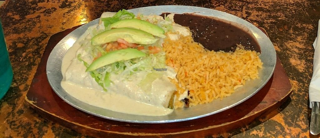 "Photo of La Morada  by <a href=""/members/profile/nancy20mexgirl"">nancy20mexgirl</a> <br/>Vegan Enchiladas de Jamaica with Cashew Sauce <br/> February 22, 2017  - <a href='/contact/abuse/image/87550/229027'>Report</a>"