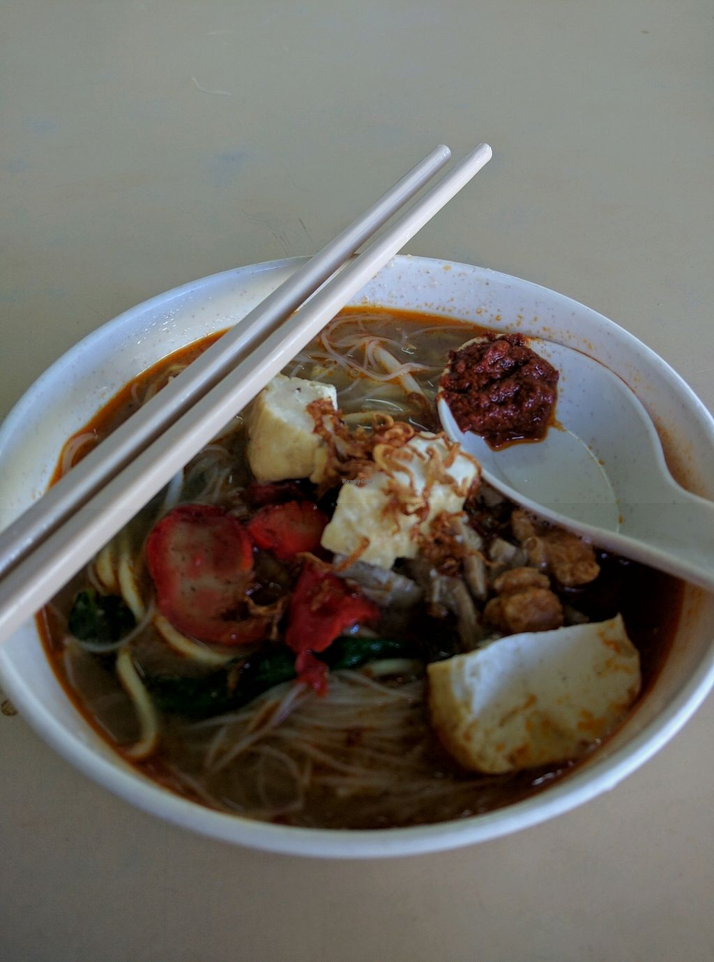 """Photo of Jian Jian Vegetarian Food  by <a href=""""/members/profile/Summer_Tan"""">Summer_Tan</a> <br/>Monday's Special: Hokkien Mee Cheap, generous with toppings, good portion. The Broth is flavourful with the good spicy chilli <br/> January 28, 2018  - <a href='/contact/abuse/image/87563/352096'>Report</a>"""