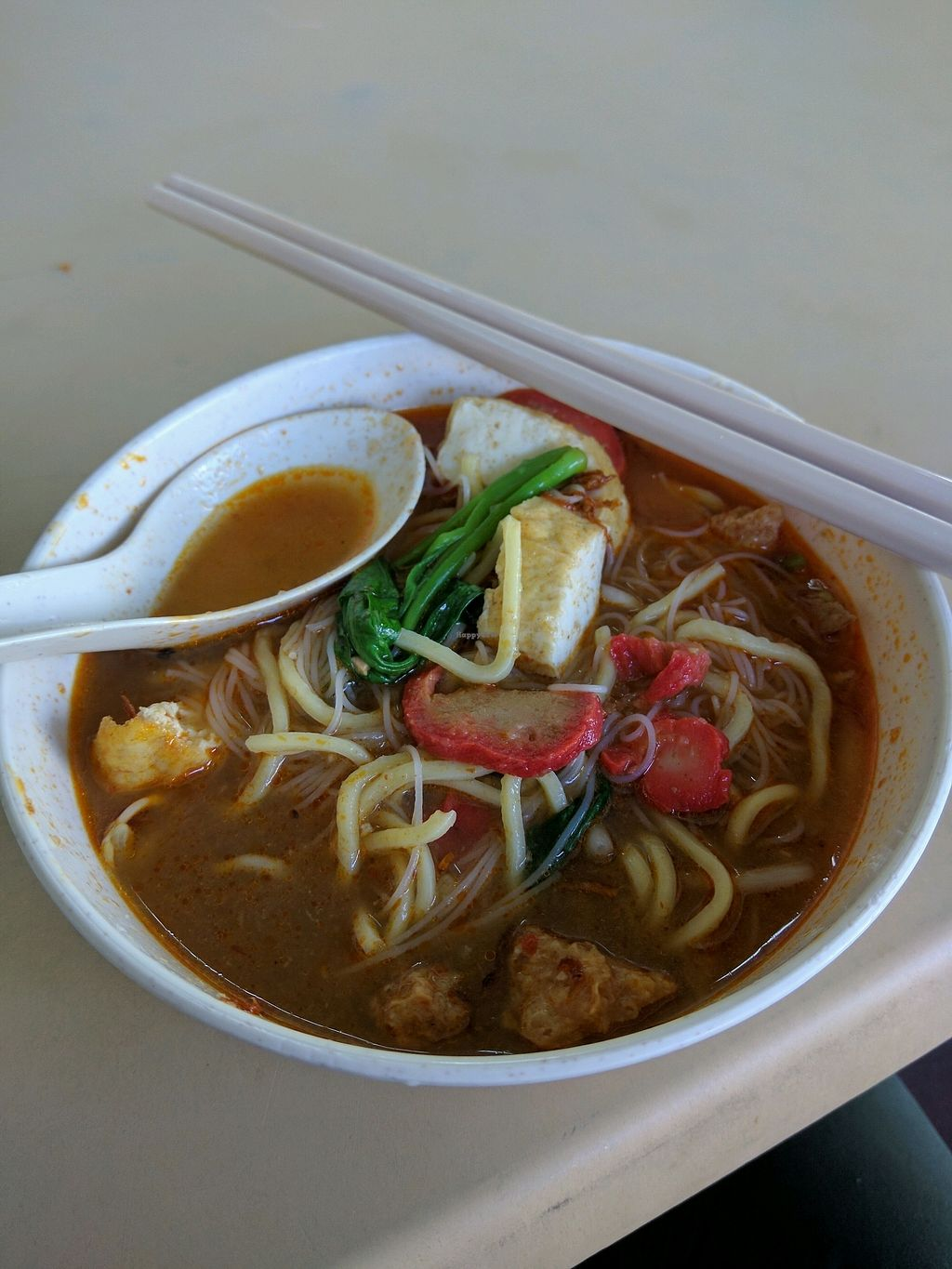 """Photo of Jian Jian Vegetarian Food  by <a href=""""/members/profile/Summer_Tan"""">Summer_Tan</a> <br/>Monday's Special: Hokkien Mee Cheap, generous with toppings, good portion. The Broth is flavourful with the good spicy chilli <br/> January 28, 2018  - <a href='/contact/abuse/image/87563/352097'>Report</a>"""