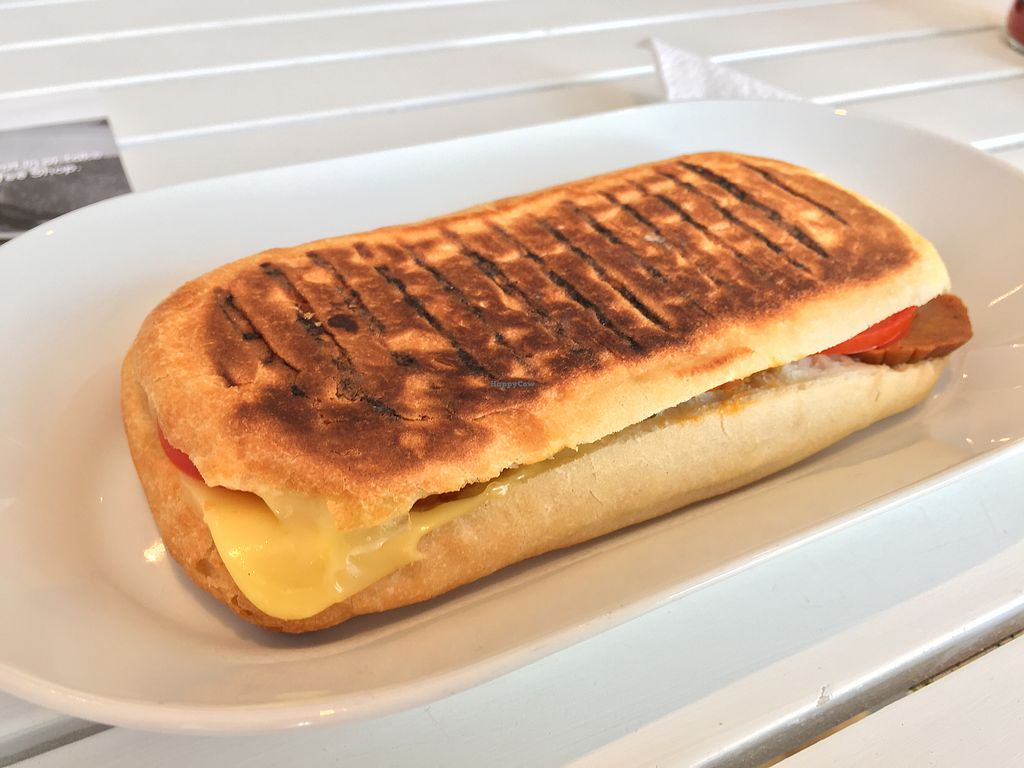 """Photo of Vegan HQ  by <a href=""""/members/profile/Jrosworld"""">Jrosworld</a> <br/>Panini with salami, cheese, tomato & jalapeños, £5.00 <br/> August 4, 2017  - <a href='/contact/abuse/image/87586/288692'>Report</a>"""