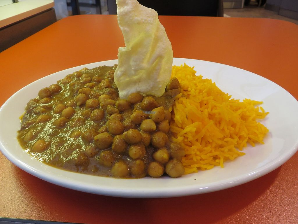 """Photo of Chutney Indische Spezialitaeten  by <a href=""""/members/profile/VegiAnna"""">VegiAnna</a> <br/>vegan chickpea curry with diced potatoes in a mildly piquant curry sauce <br/> March 21, 2017  - <a href='/contact/abuse/image/87590/239306'>Report</a>"""