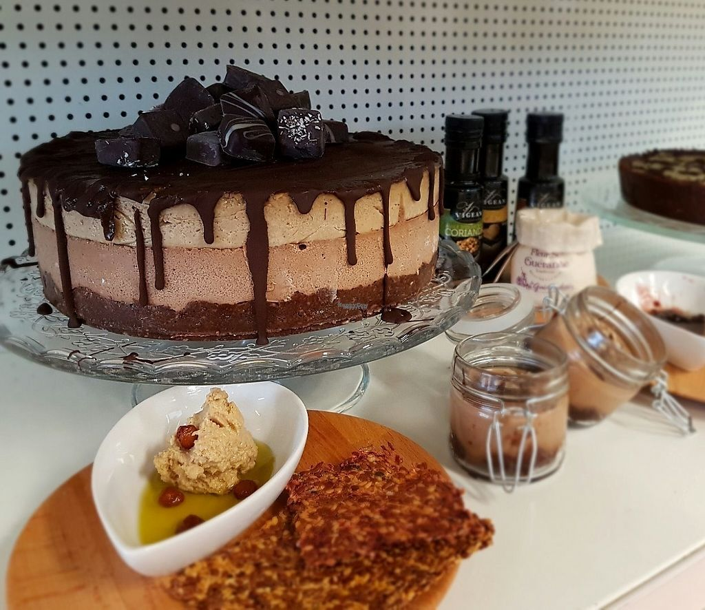 """Photo of Matarbur and Cafe Kaja  by <a href=""""/members/profile/KarenJ%C3%B3nsdottir"""">KarenJónsdottir</a> <br/>Our raw cakes are Vegan and gluteinfree. Here you can see the chocolate peanut butter cake  <br/> March 2, 2017  - <a href='/contact/abuse/image/87597/231856'>Report</a>"""