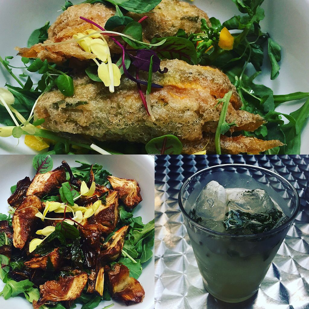 """Photo of VITA Vegan Paradise - temporarily closed  by <a href=""""/members/profile/SKTroutman"""">SKTroutman</a> <br/>zucchini blossoms, fried artichoke and mint lemonade <br/> June 30, 2017  - <a href='/contact/abuse/image/87602/274965'>Report</a>"""
