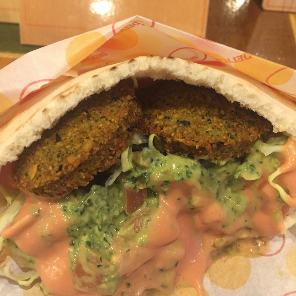 """Photo of Gold Falafel  by <a href=""""/members/profile/Vegeiko"""">Vegeiko</a> <br/>Farafel pita - yum!! <br/> February 25, 2017  - <a href='/contact/abuse/image/87607/230110'>Report</a>"""