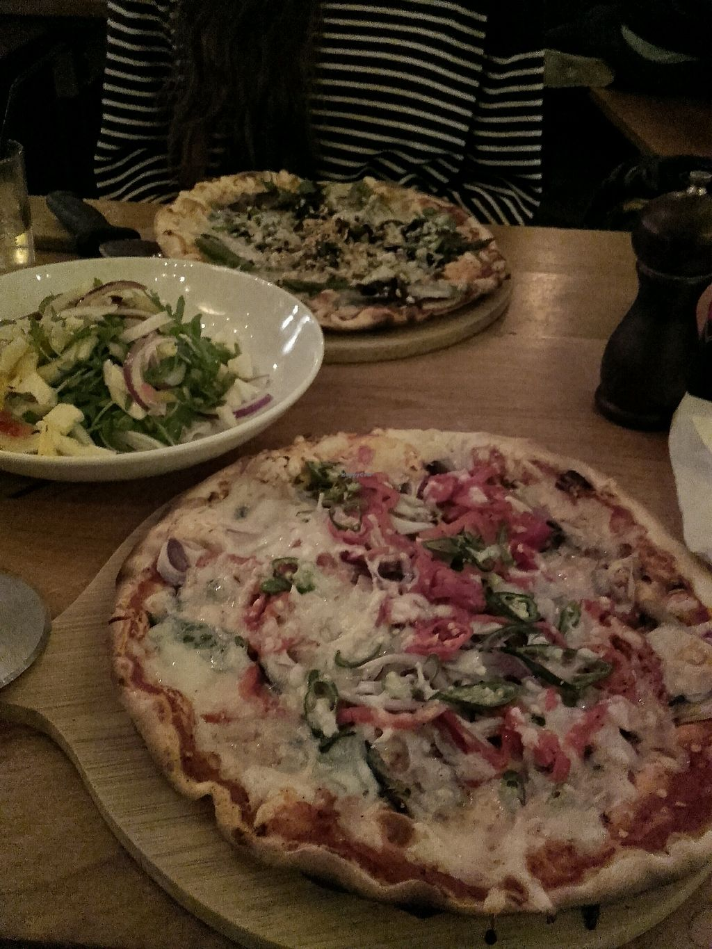 """Photo of The Stable  by <a href=""""/members/profile/MarkSwift"""">MarkSwift</a> <br/>Vegan pizza and salad are delicious <br/> November 8, 2017  - <a href='/contact/abuse/image/87612/323398'>Report</a>"""