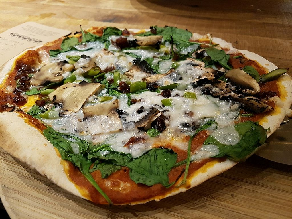 "Photo of The Stable  by <a href=""/members/profile/Collieflower"">Collieflower</a> <br/>The Hazel Nutter pizza (with extra peppers) from the vegan menu. Topped with vegan mozzarella.  <br/> October 18, 2017  - <a href='/contact/abuse/image/87621/316463'>Report</a>"