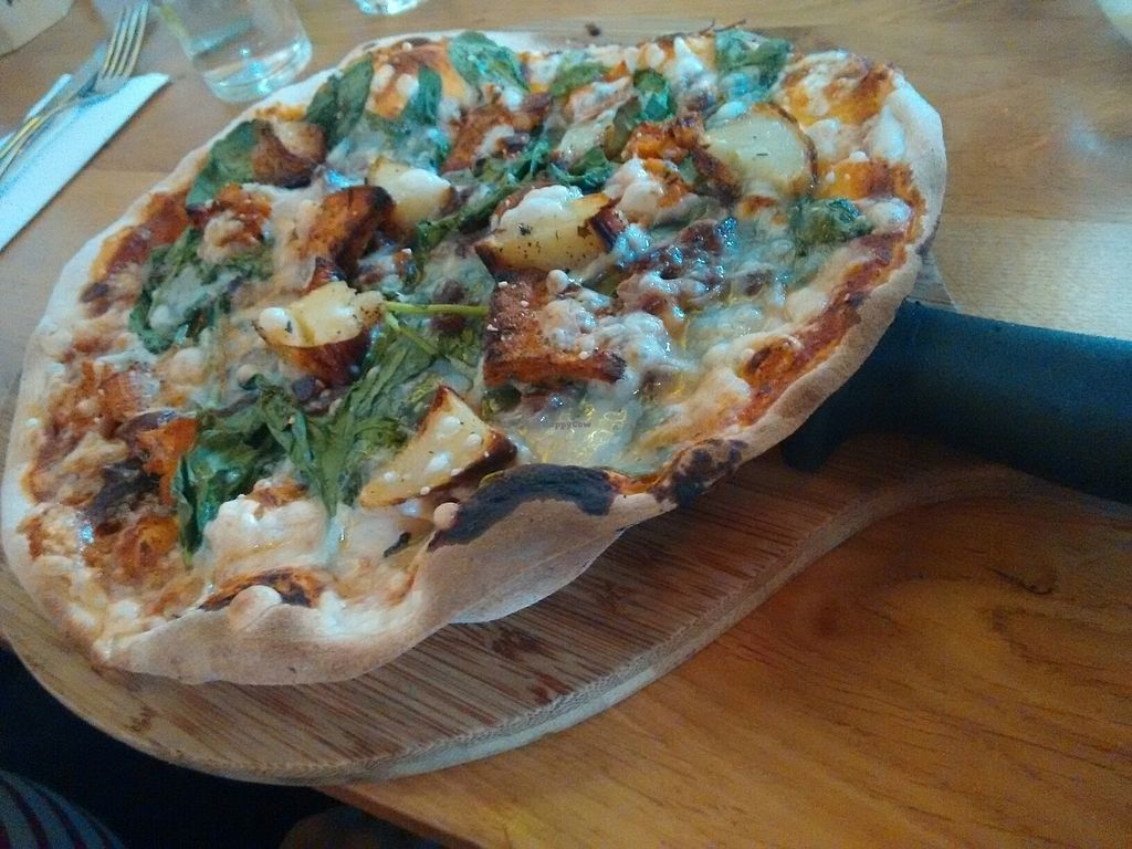 "Photo of The Stable  by <a href=""/members/profile/VegMonsterRye"">VegMonsterRye</a> <br/>One Potato Two Potato Pizza woth sweet potato, Bute Island vegan mozzarella, potato, Spanish onion <br/> August 15, 2017  - <a href='/contact/abuse/image/87629/292866'>Report</a>"