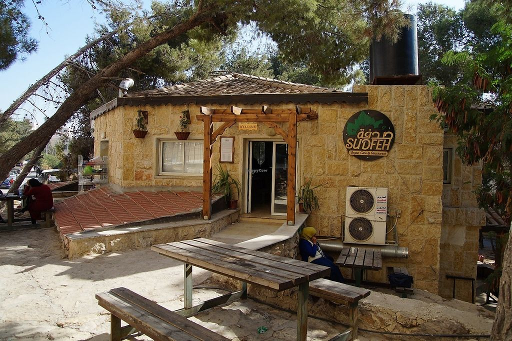 """Photo of Sudfeh  by <a href=""""/members/profile/danielpoland"""">danielpoland</a> <br/>Sudfeh vegan restaurant in occupied Palestine. Just on oposite side of the apartheid wall in Abu Dis (in the past it was part of Eastern Jerusalem) <br/> May 16, 2017  - <a href='/contact/abuse/image/87633/259400'>Report</a>"""