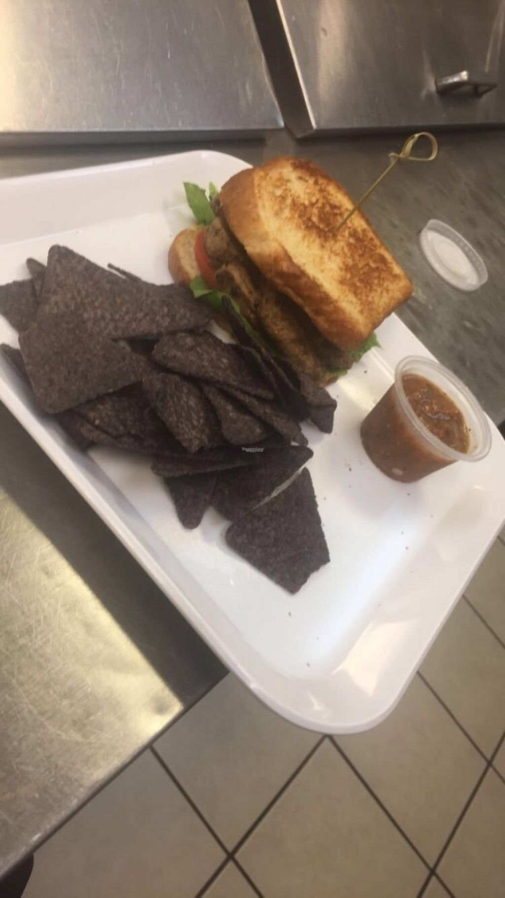 "Photo of Souly Vegan Cafe  by <a href=""/members/profile/yachy10"">yachy10</a> <br/>Fried ""Chicken"" served with blue corn chips and spanish sophrito dip! <br/> February 26, 2017  - <a href='/contact/abuse/image/87664/230527'>Report</a>"