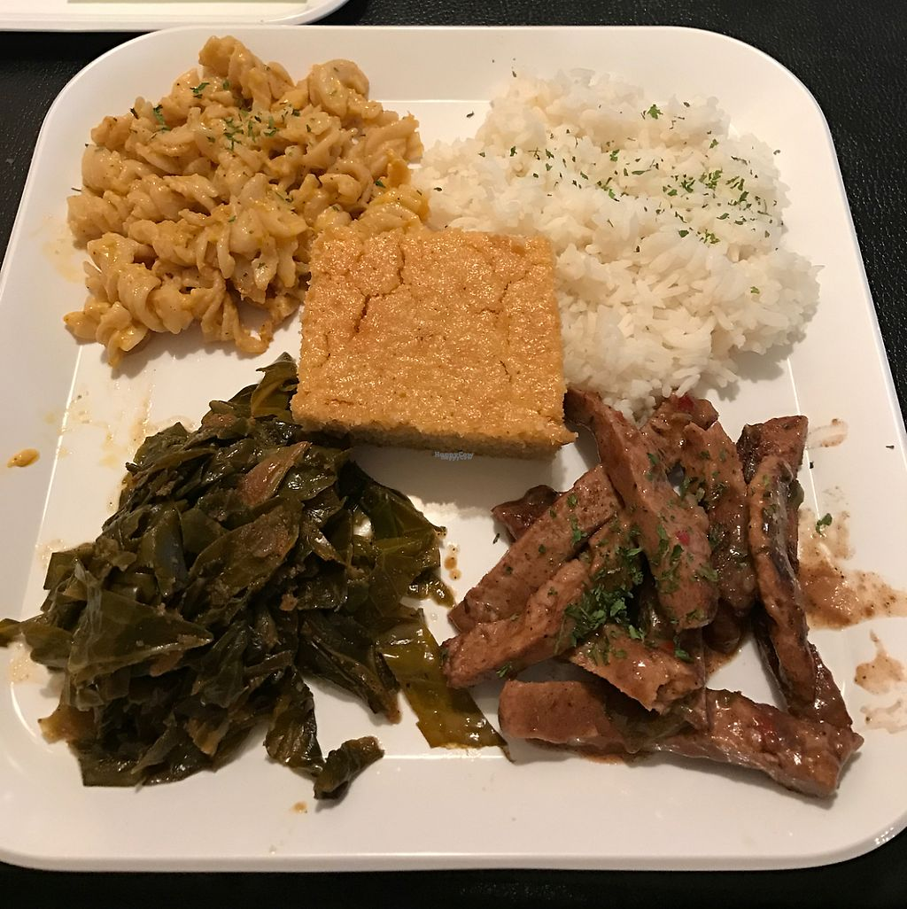 "Photo of Souly Vegan Cafe  by <a href=""/members/profile/KeishaMcDonald"">KeishaMcDonald</a> <br/>Jerk Chickin with collard green, mac and cheese, corn bread, and rice <br/> March 31, 2017  - <a href='/contact/abuse/image/87664/242837'>Report</a>"
