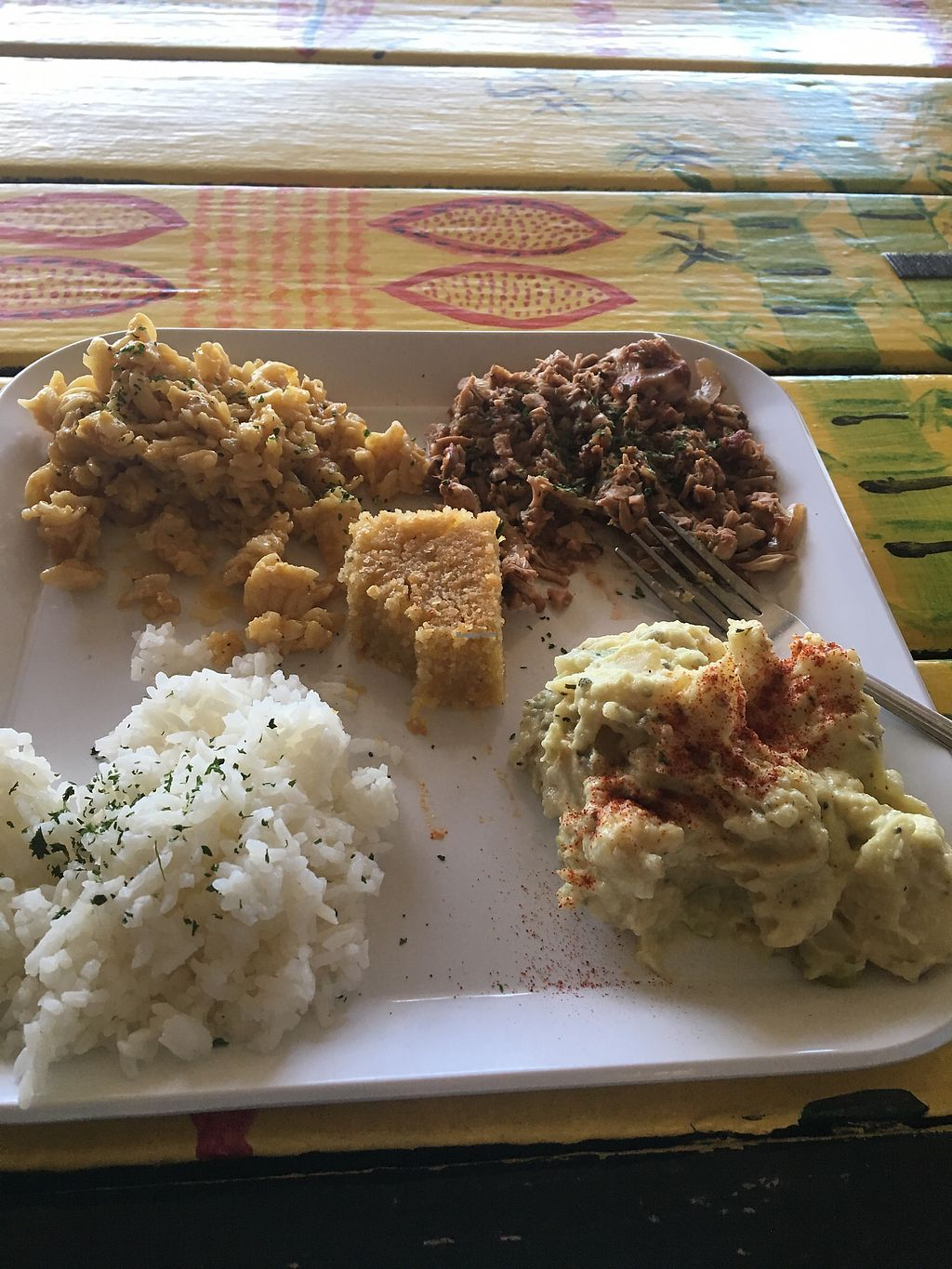 "Photo of Souly Vegan Cafe  by <a href=""/members/profile/EmilySuttonTaylor"">EmilySuttonTaylor</a> <br/>Jackfruit BBQ, potato salad, Mac and cheese, rice and cornbread  <br/> September 21, 2017  - <a href='/contact/abuse/image/87664/306943'>Report</a>"