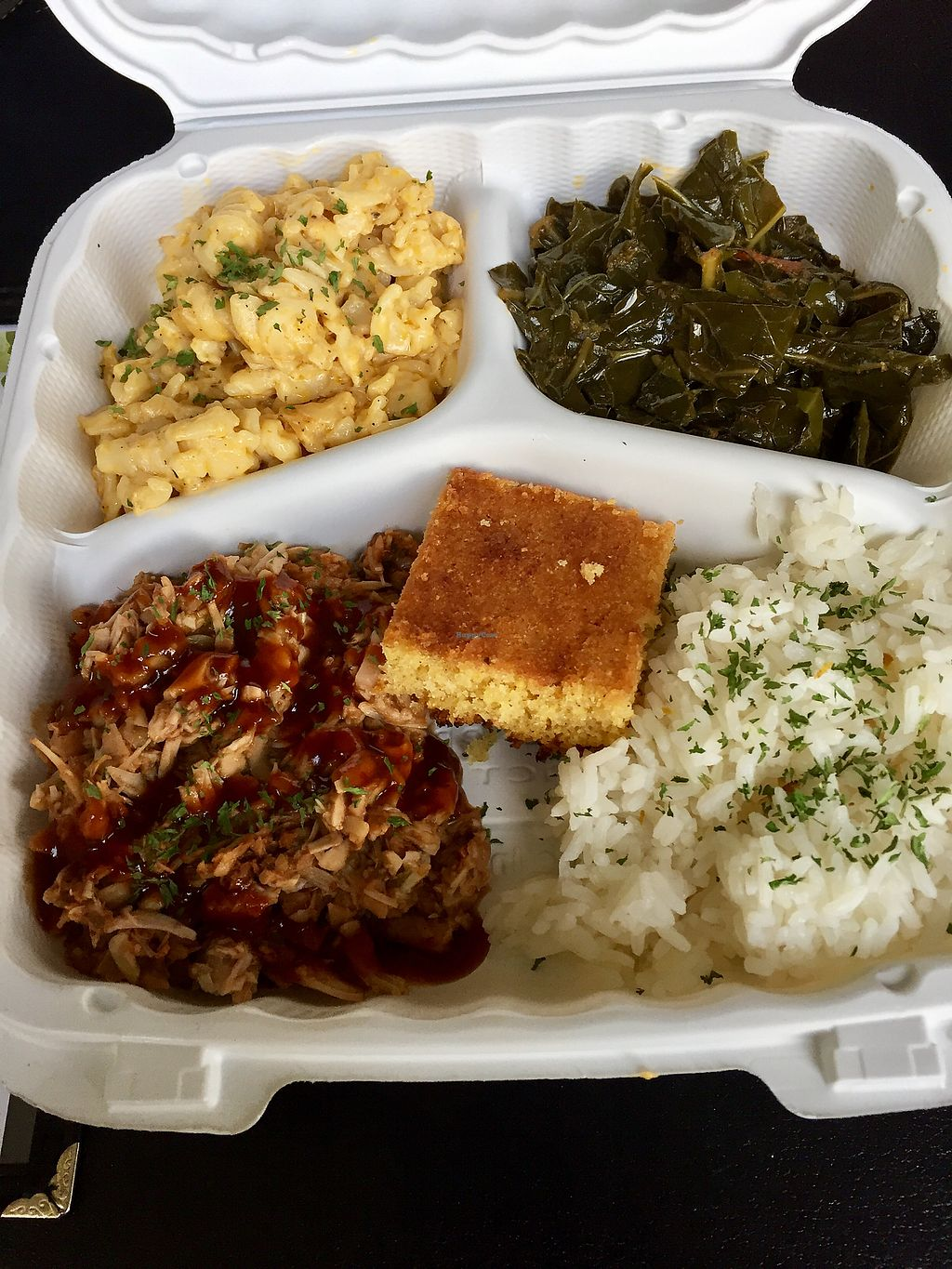 "Photo of Souly Vegan Cafe  by <a href=""/members/profile/LANoL"">LANoL</a> <br/>Vegan Soul Food Fabulousness - BBQ Jackfruit, M&C and Greens? <br/> October 8, 2017  - <a href='/contact/abuse/image/87664/313005'>Report</a>"