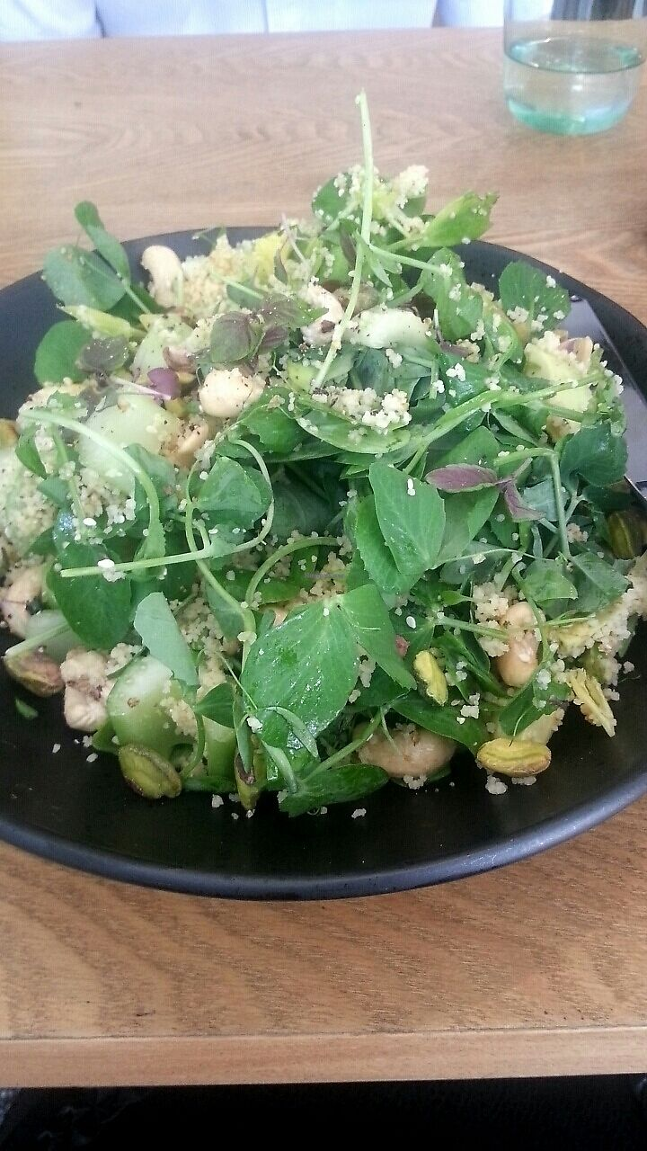 """Photo of DEW: Drink Eat Work  by <a href=""""/members/profile/riannon333"""">riannon333</a> <br/>Salad made vegan by request. Quinoa, pine nuts, leafy greens <br/> June 9, 2017  - <a href='/contact/abuse/image/87665/267324'>Report</a>"""
