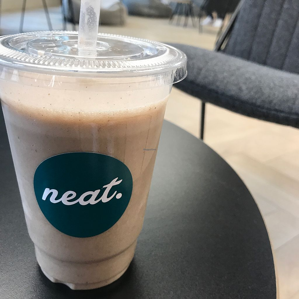 """Photo of Neat Nutrition Cafe & Smoothie Bar at lululemon  by <a href=""""/members/profile/The%20London%20Vegan"""">The London Vegan</a> <br/>vegan choc protein shake with rice milk  <br/> August 26, 2017  - <a href='/contact/abuse/image/87686/297376'>Report</a>"""