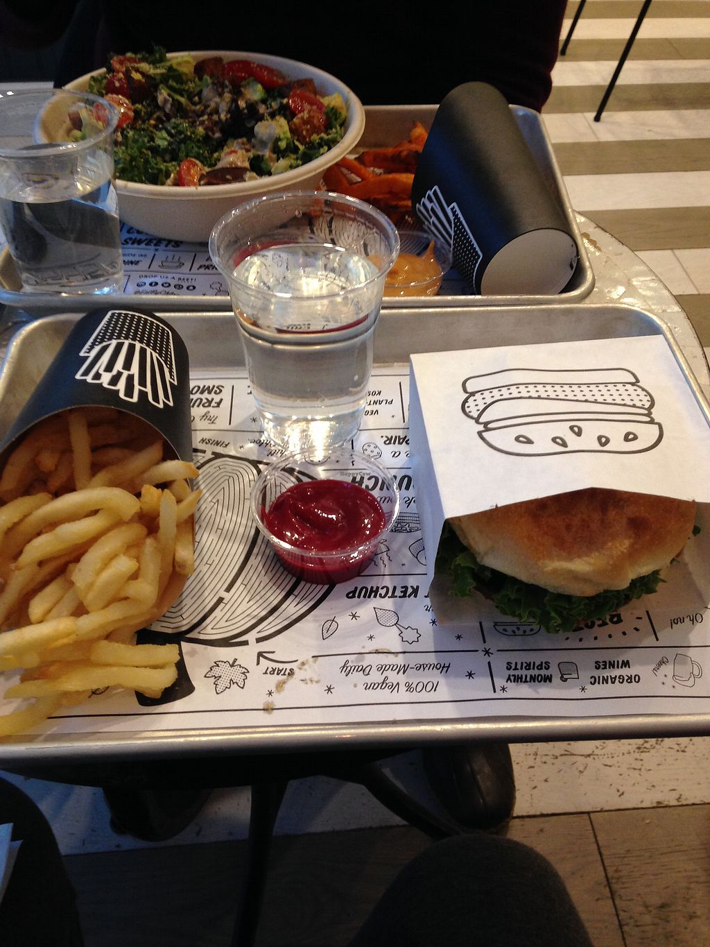 """Photo of By Chloe - Seaport  by <a href=""""/members/profile/HGrey42"""">HGrey42</a> <br/>Veggie burger, air baked fries, and beet ketchup/ <br/> December 26, 2017  - <a href='/contact/abuse/image/87689/339260'>Report</a>"""