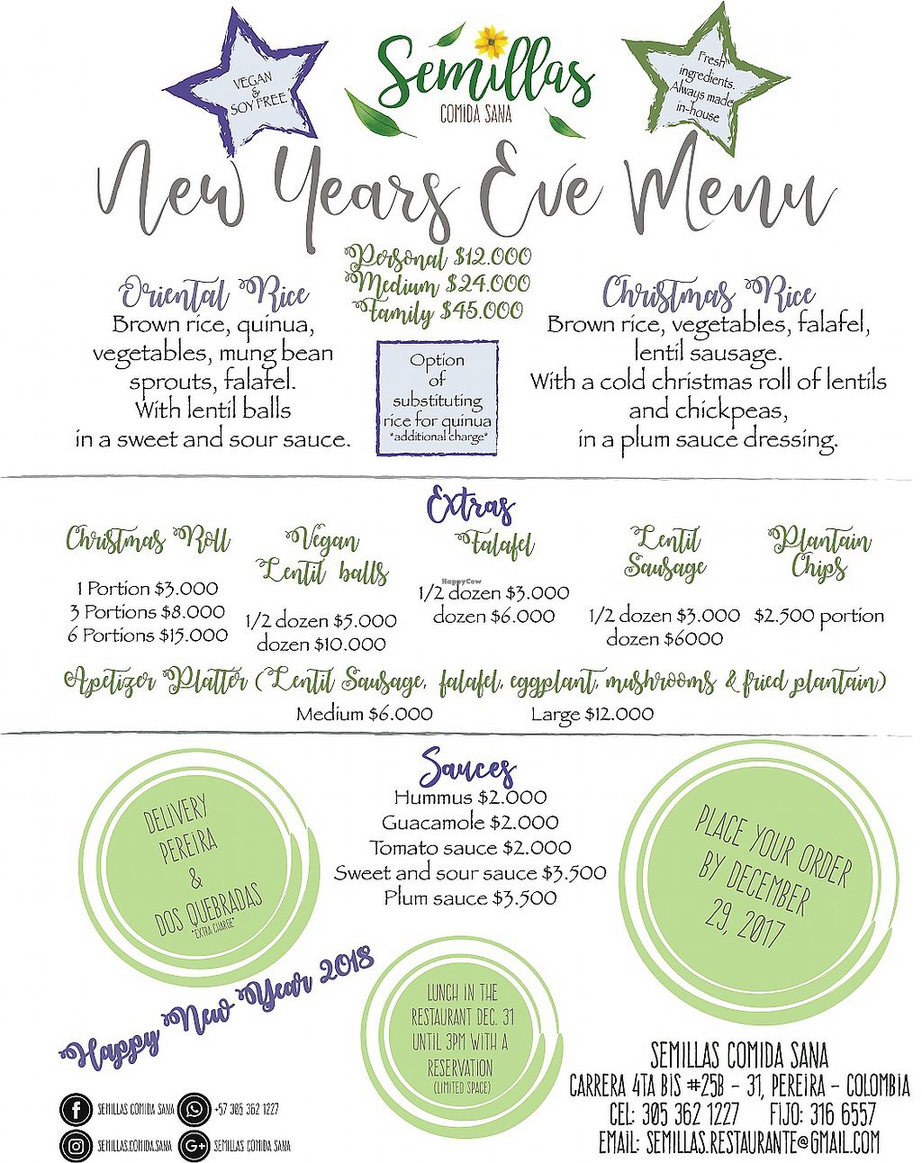 """Photo of Semillas Comida Sana  by <a href=""""/members/profile/weganmama"""">weganmama</a> <br/>New Year's Eve take out menu  <br/> December 28, 2017  - <a href='/contact/abuse/image/87708/340178'>Report</a>"""
