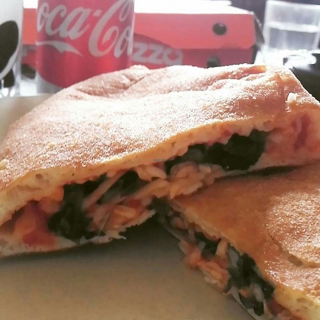 """Photo of Pizza Pizza - Forest Hills Pkwy  by <a href=""""/members/profile/QuothTheRaven"""">QuothTheRaven</a> <br/>vegan calzone with mushros, spinach and violife vegan cheese <br/> August 20, 2017  - <a href='/contact/abuse/image/87714/294573'>Report</a>"""