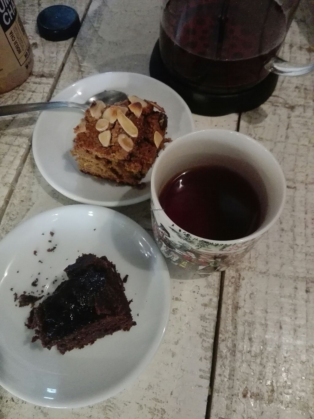 """Photo of Yummy Veggie  by <a href=""""/members/profile/Pteri"""">Pteri</a> <br/>Chocolate cake, carrot cake, both with panela and rooibos infusion <br/> August 19, 2017  - <a href='/contact/abuse/image/87778/294335'>Report</a>"""