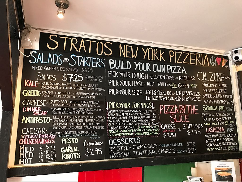 """Photo of Stratos New York Pizzeria  by <a href=""""/members/profile/vegetariangirl"""">vegetariangirl</a> <br/>menu board <br/> February 27, 2017  - <a href='/contact/abuse/image/87795/230925'>Report</a>"""