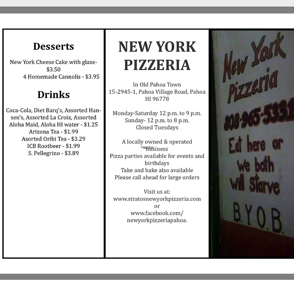 """Photo of Stratos New York Pizzeria  by <a href=""""/members/profile/vegetariangirl"""">vegetariangirl</a> <br/>menu page 1 <br/> February 27, 2017  - <a href='/contact/abuse/image/87795/230928'>Report</a>"""