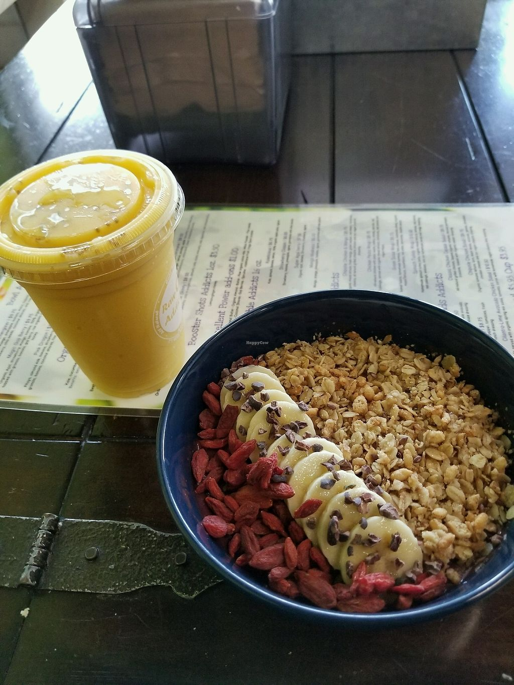 "Photo of Raw Addiction   by <a href=""/members/profile/CedricDadaille"">CedricDadaille</a> <br/>goji berry bowl and mango smoothie <br/> December 17, 2017  - <a href='/contact/abuse/image/87821/336537'>Report</a>"