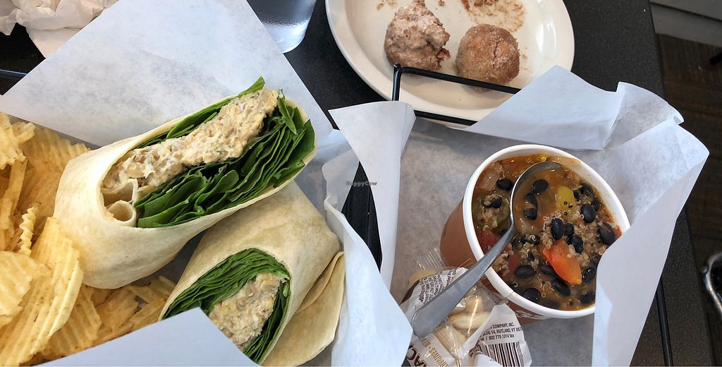 """Photo of Cool River Coffee House & Bakery  by <a href=""""/members/profile/AshleyJoNix"""">AshleyJoNix</a> <br/>Vegan egg salad, veggie quinoa chili, and a mini muffin and donut hole <br/> January 19, 2018  - <a href='/contact/abuse/image/87851/348411'>Report</a>"""