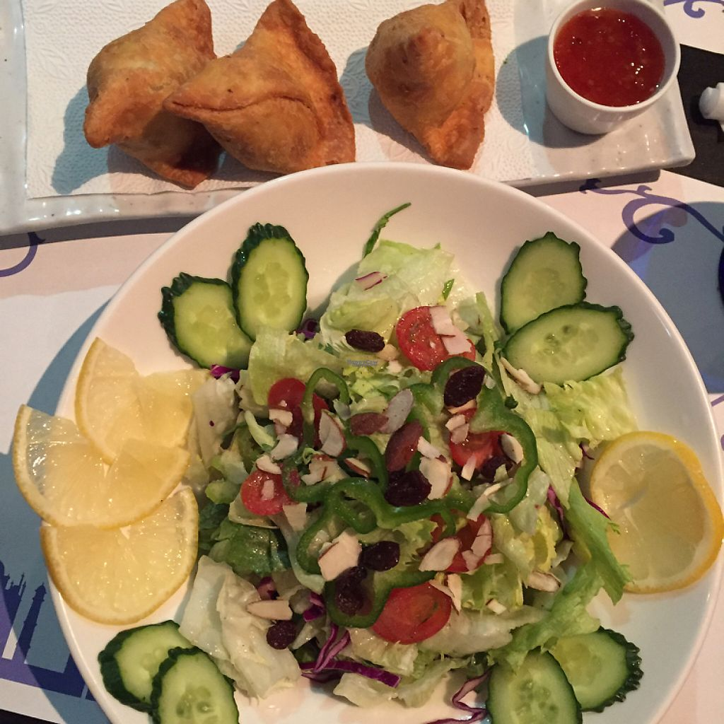 """Photo of Taj Mahal in Korea  by <a href=""""/members/profile/LaurenMoon"""">LaurenMoon</a> <br/>Mixed Green Salad and Vegetable Samosas  <br/> March 1, 2017  - <a href='/contact/abuse/image/87865/231412'>Report</a>"""