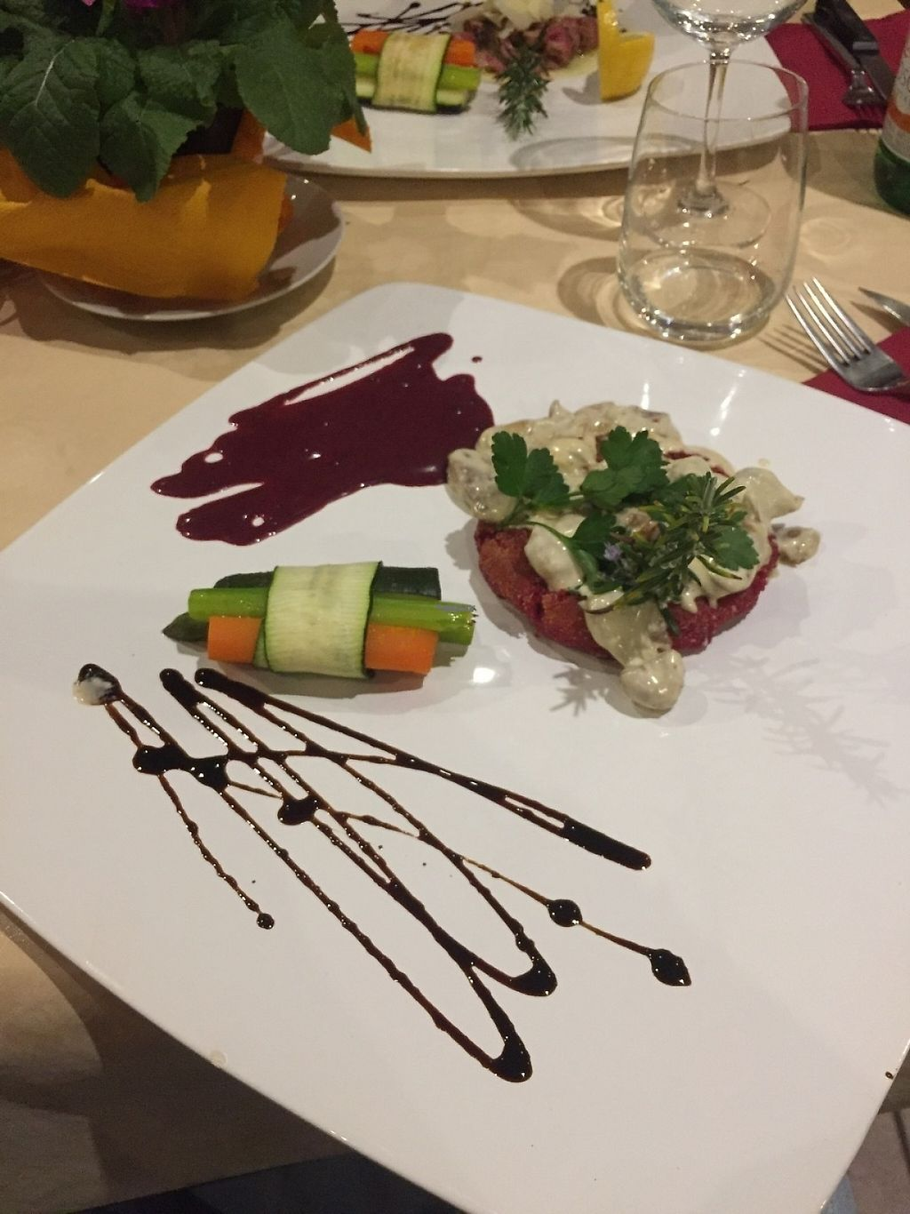 """Photo of Hotel Rovere  by <a href=""""/members/profile/ssarad"""">ssarad</a> <br/>vegan burger with mushroom sauce <br/> March 9, 2017  - <a href='/contact/abuse/image/88052/234627'>Report</a>"""