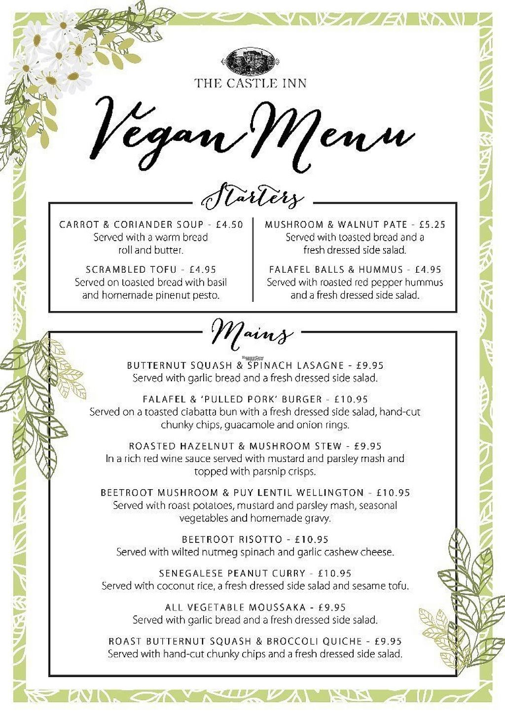 """Photo of The Castle Inn   by <a href=""""/members/profile/Veganolive1"""">Veganolive1</a> <br/>Vegan menu <br/> March 3, 2017  - <a href='/contact/abuse/image/88054/232281'>Report</a>"""