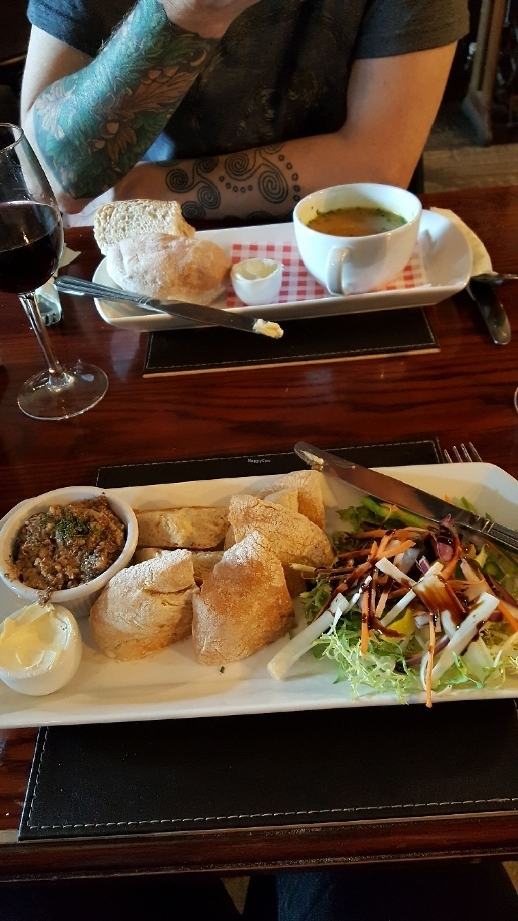"""Photo of The Castle Inn   by <a href=""""/members/profile/jansky7"""">jansky7</a> <br/>walnut and mushroom pate and carrot and coriander soup <br/> May 13, 2017  - <a href='/contact/abuse/image/88054/258443'>Report</a>"""
