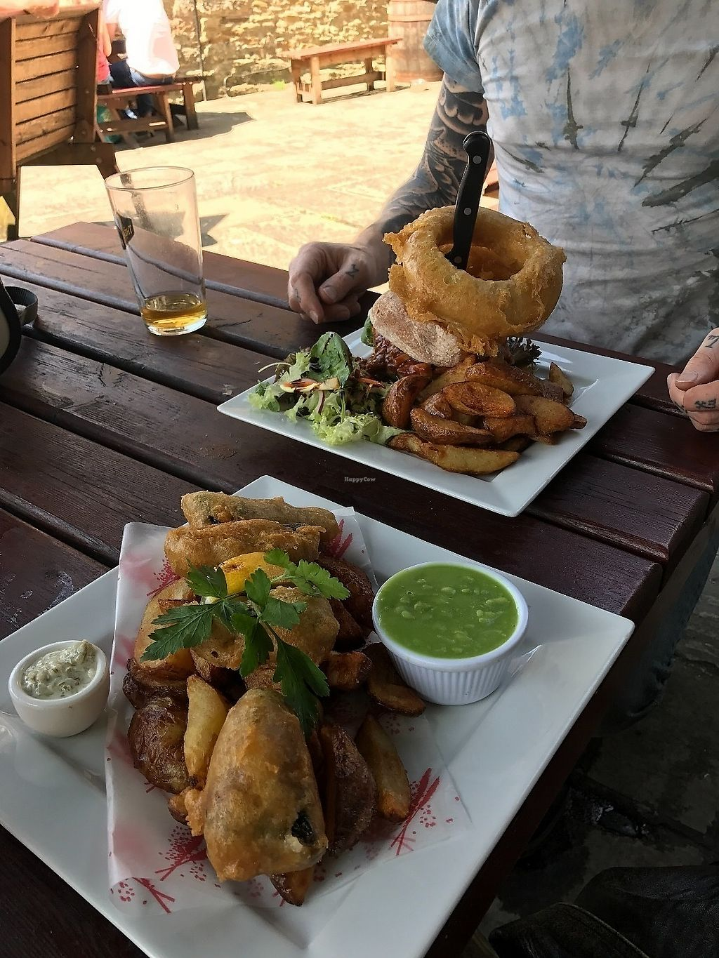 """Photo of The Castle Inn   by <a href=""""/members/profile/ClareBewick"""">ClareBewick</a> <br/>Tofish & chips and Pulled pork style falafel burger <br/> June 19, 2017  - <a href='/contact/abuse/image/88054/271125'>Report</a>"""
