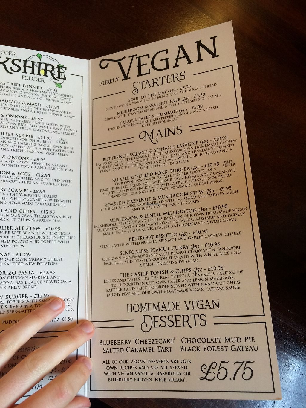 """Photo of The Castle Inn   by <a href=""""/members/profile/Hoggy"""">Hoggy</a> <br/>The vegan menu as of June 2017 (may differ) <br/> June 20, 2017  - <a href='/contact/abuse/image/88054/271523'>Report</a>"""