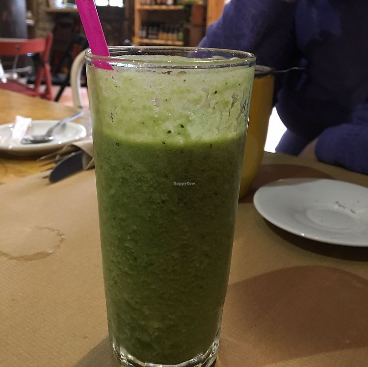 """Photo of Green Zone Bio Bar  by <a href=""""/members/profile/Vegangypsy"""">Vegangypsy</a> <br/>Green Alkalising Smoothie <br/> June 14, 2017  - <a href='/contact/abuse/image/88068/268890'>Report</a>"""