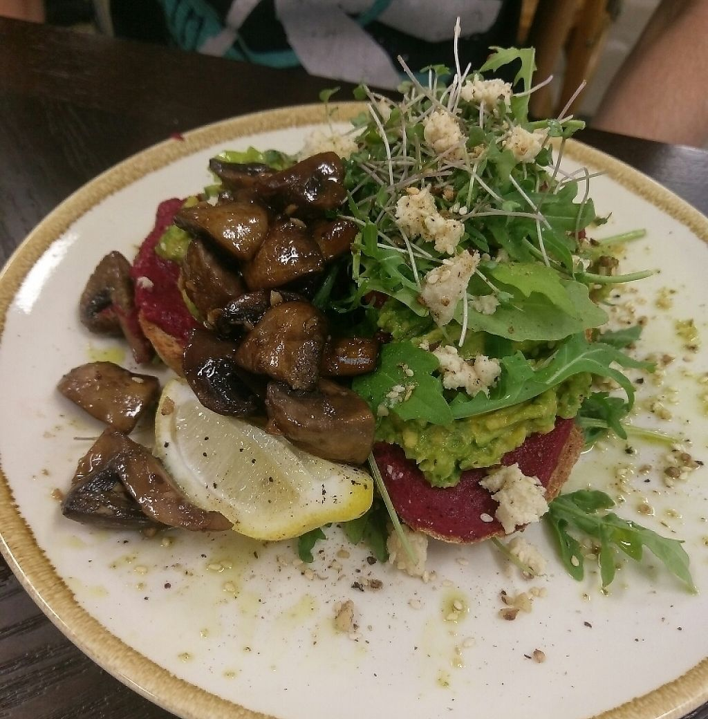 "Photo of Evolve Cafe  by <a href=""/members/profile/charmagama"">charmagama</a> <br/>avocado, beetroot and vegan feta with added mushrooms  <br/> March 4, 2017  - <a href='/contact/abuse/image/88080/252336'>Report</a>"