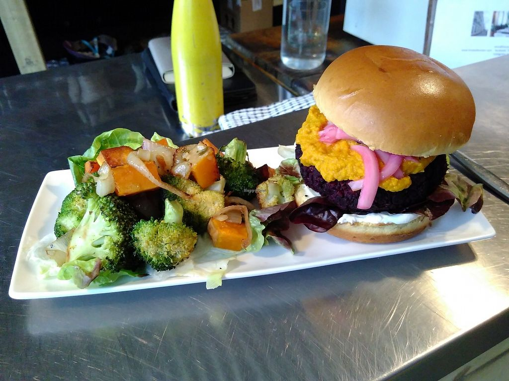 """Photo of Tiny Leaf  by <a href=""""/members/profile/VictorHugoLimachi"""">VictorHugoLimachi</a> <br/>Beetroot burger with the cooked side salad <br/> August 26, 2017  - <a href='/contact/abuse/image/88105/297643'>Report</a>"""