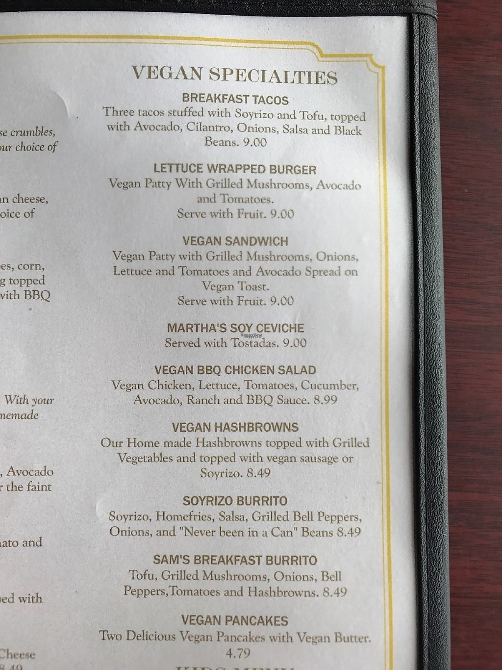 """Photo of Aunt Yese's Home Cooking  by <a href=""""/members/profile/xmrfigx"""">xmrfigx</a> <br/>Their vegan menu. Also try the vegan scrAmble that is not listed on the menu. It's amazing! <br/> March 4, 2017  - <a href='/contact/abuse/image/88111/232673'>Report</a>"""