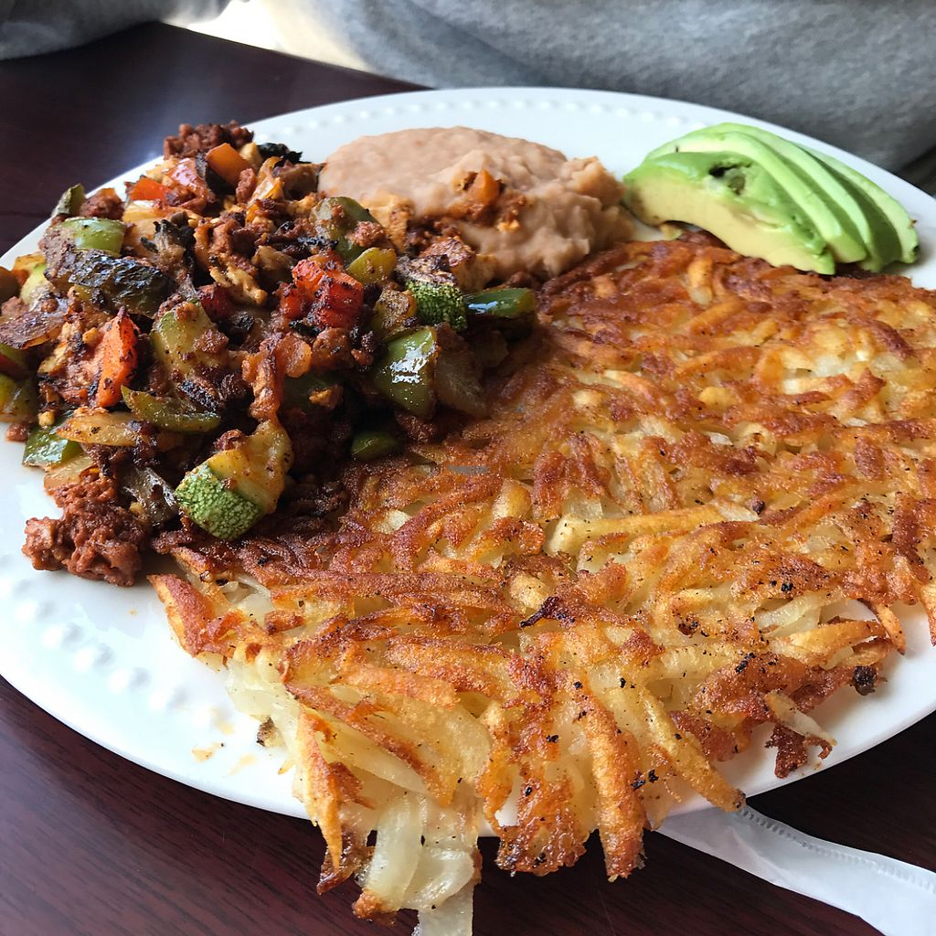 """Photo of Aunt Yese's Home Cooking  by <a href=""""/members/profile/xmrfigx"""">xmrfigx</a> <br/>Vegan Scramble - not on the menu so just ask for it! <br/> March 19, 2017  - <a href='/contact/abuse/image/88111/238406'>Report</a>"""